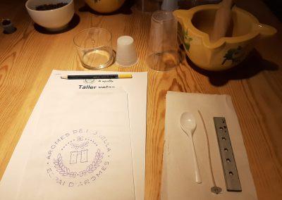 ingredientes y papel con lápiz